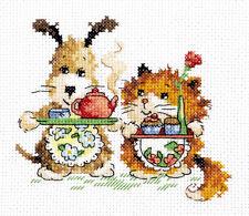 PUNTO Croce Kit Fife O 'CLOCK (cane e gatto) art. 18-63