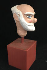 Antique Folk Art Paper Mache Papier Puppet Head Older Man White Beard Bald Stand