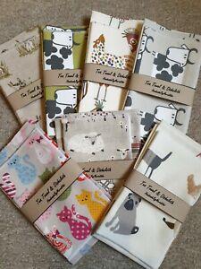 Handmade 100% Cotton Linen Tea Towel & Dishcloth .Various Designs...Lovely gift!