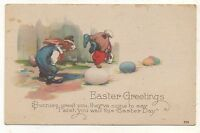 Dressed Bunny Rabbit Children Playing on Eggs EASTER Greetings Vintage Postcard