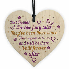 Best Friend Friendship Plaque Wooden Heart Thank You Christmas Birthday Gifts