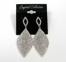Silver Plated Clear Rhinestone Crystal Dangle Drop Earrings  # 41957 Bridal Prom