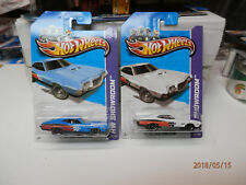 Hot Wheels 1972 ford gran torino sport k&n set of 2 white and blue