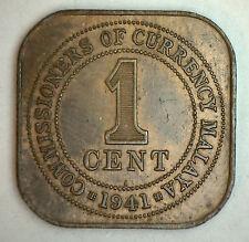 1941 Bronze Malaysia 1 One Cent British UK Coin YG