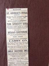 B8c Ephemera 1929 Advert Falmouth St George's Hall Tom Mix Hello Cheyenne