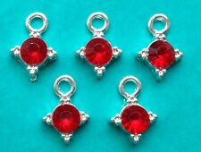 10 x RED STONE IN SILVER TONE CHARMS - Bright Silver