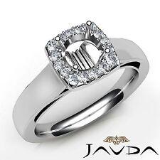 Round Cut Semi Mount Diamond Engagement Ring Halo Shared Prong Platinum 0.2Ct
