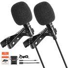 Pro 2 Pack Clip On Lavalier Microphone Bundle Lapel Mic Compatibable Hands Free