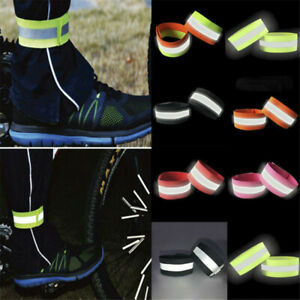 Safety Night Glowing Wristband Sport Running Reflective Arm Band Belt Strap 2Pcs