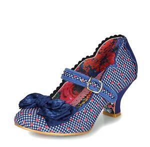 Irregular Choice NEW Summer Breeze blue navy gingham strawberry mary jane shoes