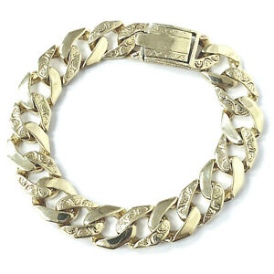 9ct Gold Bracelet Men's Heavy Gold Curb Solid Patterned Polished Yellow 54.3g