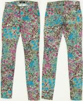 Seven 7 For All Mankind Floral Abstract Painted Print Skinny Stretch Jeans Pants