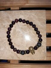 "Bracelet 7.25"" - 7.5"" #10 + bag 1x 6mm Bloodstone, Lavastone & Copper Skull"