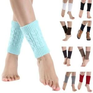 Women Winter Cable Knit Leg Warmers Socks Solid Color Twist Crochet Boot Cuffs