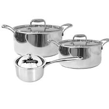 3 Pcs Stainless Steel Tri-Ply Casserole & Saucepan Set - Induction Cookware