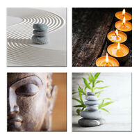 Quadri zen centro estetico 4 Pezzi Stampa su Tela con Telaio in Legno arte