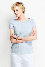 Lands End Women's Cable Jacquard Top Windswept Blue New