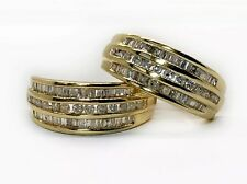 0.70 TCW Natural Diamond 14K Solid Yellow Gold Huggie Cluster Earrings 19 MM