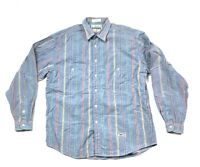 Levi's Strauss Blue Multi Color Striped Shirt Made in USA Retro Fashion Men's L