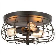 Merra 15 in. Industrial 3-Light Oil Rubbed Bronze Metal Cage Flush Mount