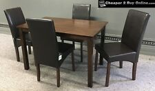 SOLID WOOD DINING TABLE IN DARK OAK FINISH + 4 BROWN FAUX LEATHER DINING CHAIRS