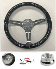 "78-91 Ford Bronco F100 F150 F250 F350 14"" Black Wood Steering Wheel on Chrome"