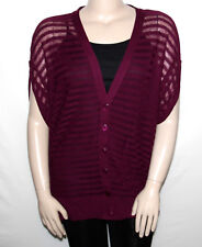 NEW August Silk Size 3X PURPLE Illusion Striped V-Neck Cardigan Button Front