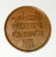 Israel Palestine British Mandate 1 Mil 1939 Coin XF
