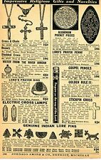 1937 Print Ad of Indian Lore Pins Arrowhead Swastika Cross & Chain Lord's Prayer