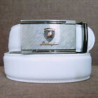 """Men Casual White Belts Mens Leather Belt Brand metal Automatic Buckle 115cm(46"""")"""