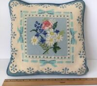 "PRETTY BLUE & IVORY FLORAL NEEDLEPOINT PILLOW ~ ZIPPERED CLOSURE, INSERT 14"" SQ"