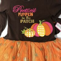 Boutique Fall Girl's Prettiest Pumpkin Tunic, Tulle Tutu, Leggings Set Sz 8 NWT.