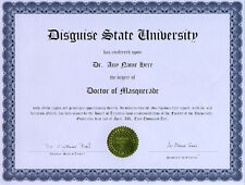 Doctor Masquerade Novelty Diploma Costume Disguise Gag