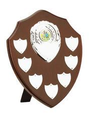 Shield Presentation Award Mahogany 8 Engravable Plates