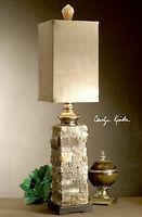 """DESIGNER 33"""" SIMULATED LAYERED STONE ANDEAN BUFFET TABLE LAMP 29093 UTTERMOST"""