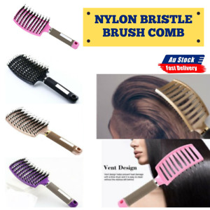 Nylon Bristle Detangling Boar Hair Brush Head Scalp Massage Vented Comb AU