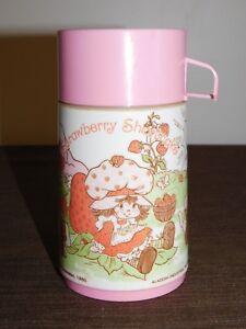 VINTAGE ALADDIN STRAWBERRY SHORTCAKE PLASTIC LUNCH BOX THERMOS