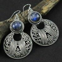 Handmade 925 Sterling Silver Labradorite Gemstone Earrings Fine Jewelry