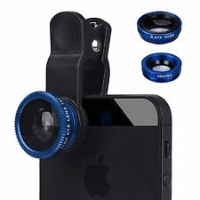 Universal HQ Blue 3 in 1 Fish Eye Wide Angle Macro Clip Lens Kit For iPhone iPad