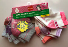 New listing 6 Pairs Hanes Girls Toddlers Ankle Socks Size 12-24months. Cushioned Heel & Toe