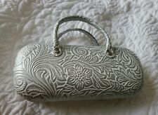 Floral Glasses Case Box Spectacle Eyewear Case Protector Holder White & Silver
