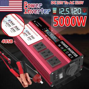 5000W Car Power Inverter DC 12V To AC 110V 120V Converter 4USB Off Grid Boat LCD