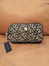 Tommy Hilfiger Small Dome Cosmetic Bag Black Signature Logo Print NWT $48
