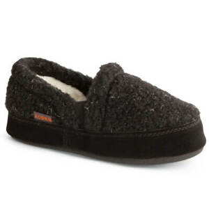 Acorn Kids' Slipperss Colby Gore Moccasins, Black Berber, K12/13 A10036ACE12-13