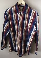 """L Mens """"Natural Issue"""" Shirt Blue Red White Plaid Long Sleeve 100% Cotton"""