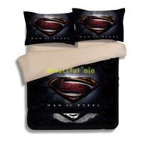 Superman Single/Double/Queen/King Size Bed Quilt/Doona/Duvet Cover Set Black