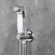 Toilet Hand Held Bidet Sprayer Kit W/Brass Bracket Connector Holder Chrome White
