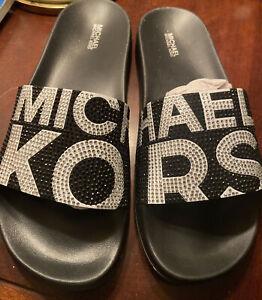 Michael Kors New Womens Gilmore Slide Black/White Lettering Sz 9