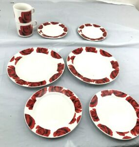 8 pc Red Rose Valentine tableware Set wedding
