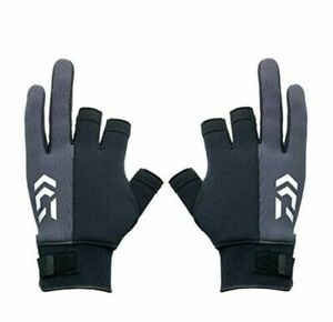 DAIWA DG-85008W Fishing Chloroprene Gloves 3 Cuts Black From Japan with Tracking
